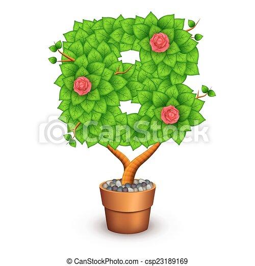B Form Baum Freigestellt Pot Brief Tonerde Blumen Eps10