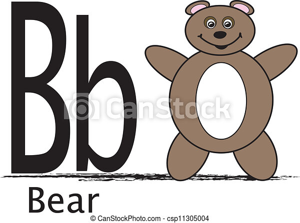 B Is For Bear The Uppercase And Lowercase Letter B With The Word