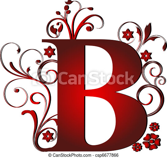b letra vermelho capital