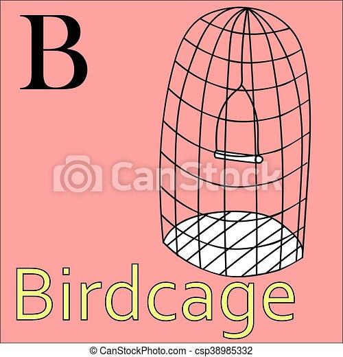 B Letter Vector Alphabet Coloring Book Birdcage