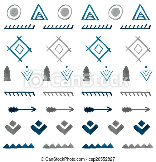 b, stam, pattern., seamless, hand, vattenfärg, etnisk, oavgjord, abstrakt - csp26552827