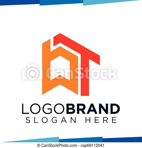B T Initial Letter with home logo vector template - csp69112041