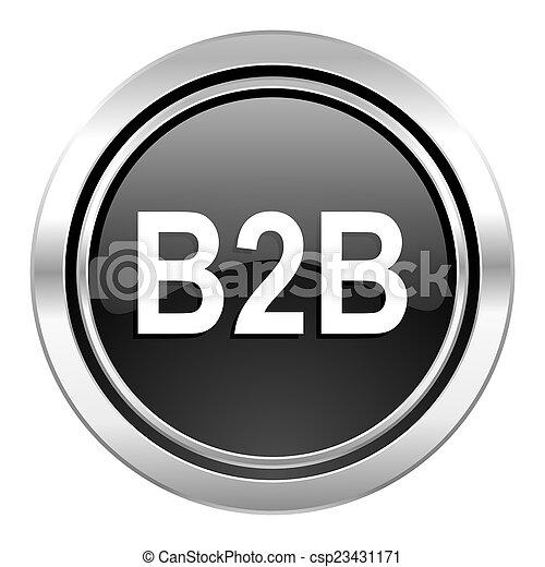 b2b icon, black chrome button - csp23431171