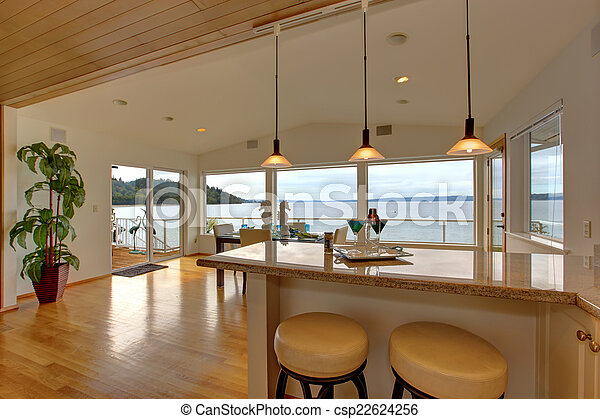 Bár, épület, tető, pult, hokedli, étkező, ár, fényűzés,... Stock ...