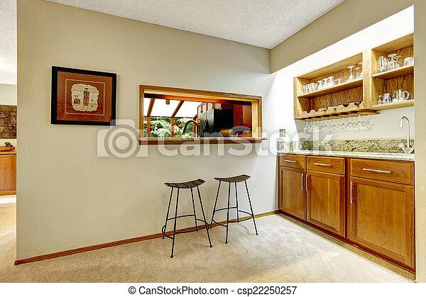 Bár, terület, fal, tető, pult, étkező, között, konyha.... Stock ...