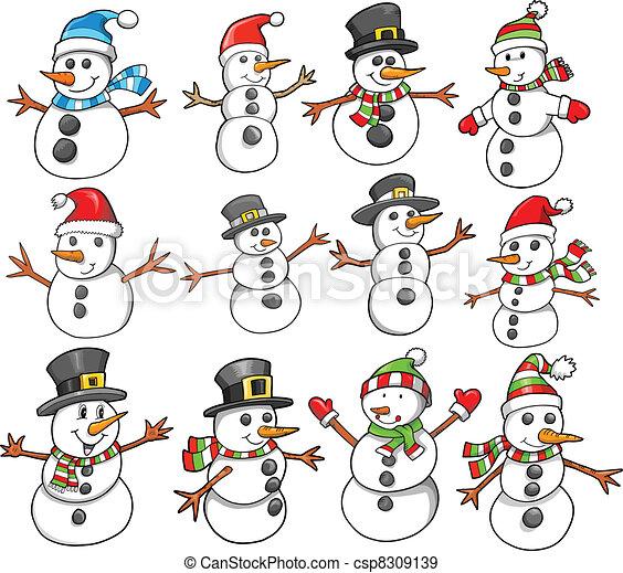 Bałwan święto Boże Narodzenie Zima Bałwan Komplet Zima Wektor
