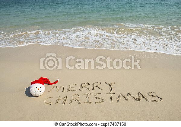 bałwan, pisemny, boże narodzenie, tropikalny, piasek, wesoły, biała plaża, boże narodzenie - csp17487150
