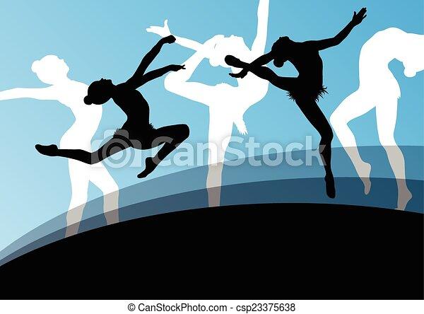 ba, astratto, giovane, silhouette, ginnasti, attivo, ragazza, equilibrismo - csp23375638