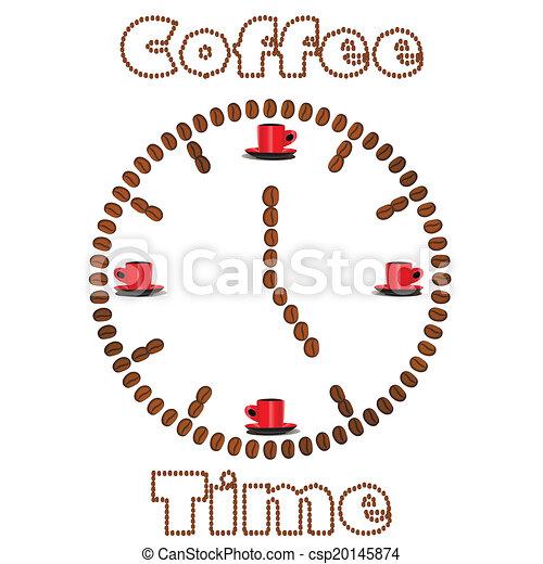 bab, kávécserje, elkészített, karóra - csp20145874