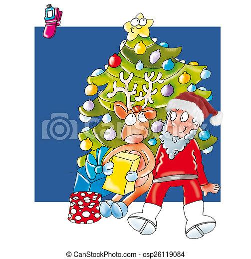 Babbo Natale Con Le Renne.Babbo Natale Con Renna