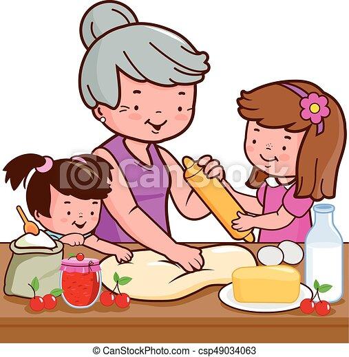 Babcia Gotowanie Dzieci Kuchnia Babcia Wnuki Jej Gotowanie