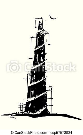 Babel Torre Estilo Biblicos Woodcut Babel Imagem Criacao
