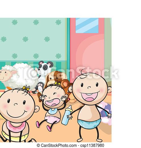 babies and animal toys - csp11387980