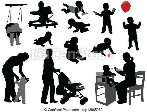 babies and toddlers silhouettes - csp12865260