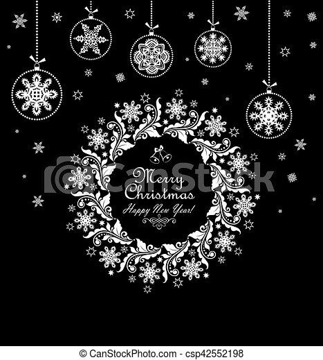 Babioles Vendange Couronne Noël Noir Pendre Noël Blanc Carte