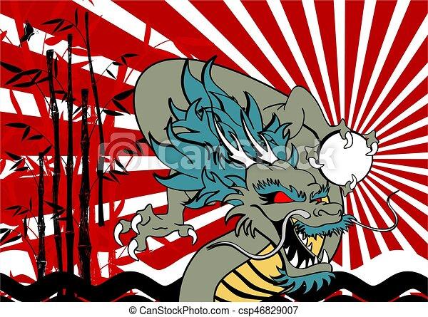 baboo, アジア人, 背景, ドラゴン - csp46829007