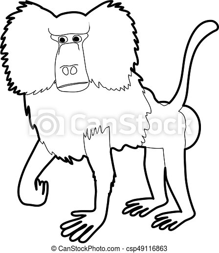 Baboon Icon Outline Baboon Icon In Outline Style Isolated On White