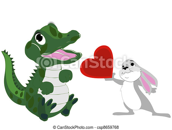 Alligator Swamp A Cartoon Alligator In A Swamp With A Bird
