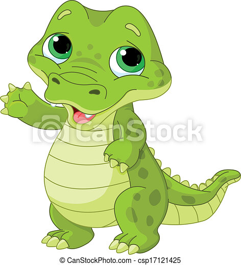 Aninimal Book: baby alligator. Illustration of very cute baby alligator.