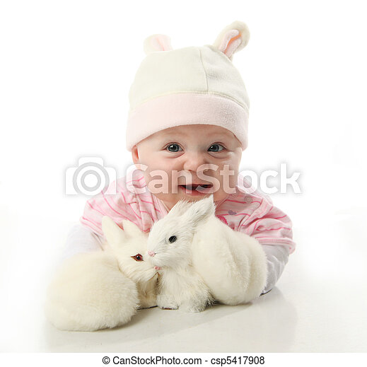 Baby and bunnies - csp5417908