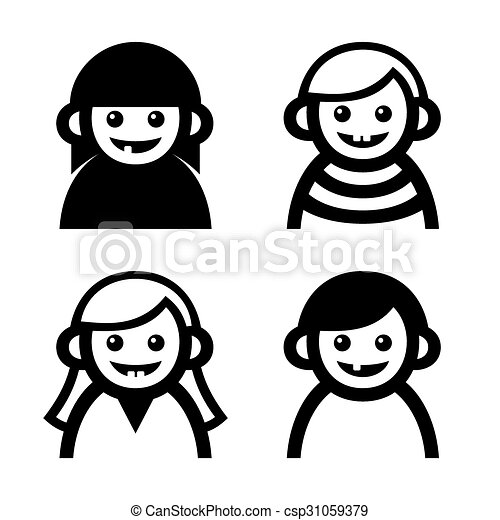 Baby and Children Faces Icons Set. Vector - csp31059379