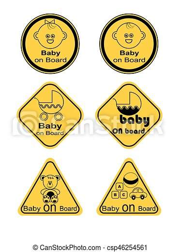 Baby and children faces,  line vector icon set - csp46254561