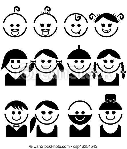 Baby and children faces,  line vector icon set - csp46254543