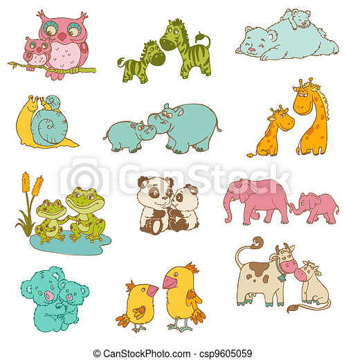 Baby and mommy animals - hand drawn - in vector.