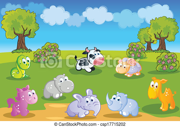 baby animals cartoon with garden csp17715202 - Garden Animals