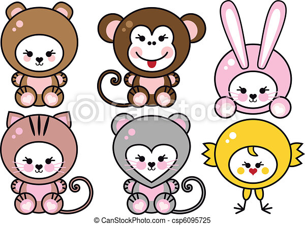 baby animals, vector - csp6095725
