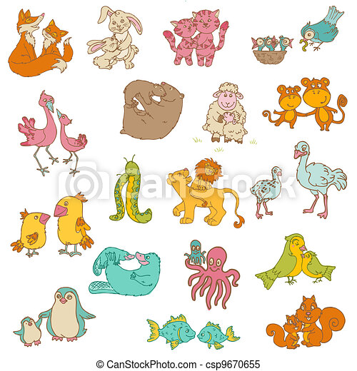 Safari Run Plano >> Baby animals with moms - for your design and scrapbook ...