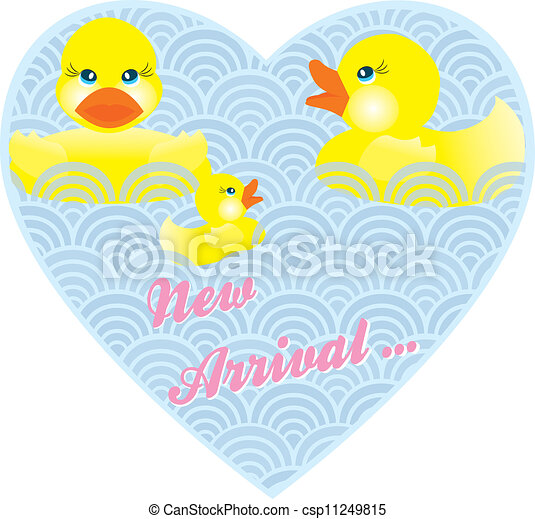 baby announcement card with duck family in heart and words new arrival