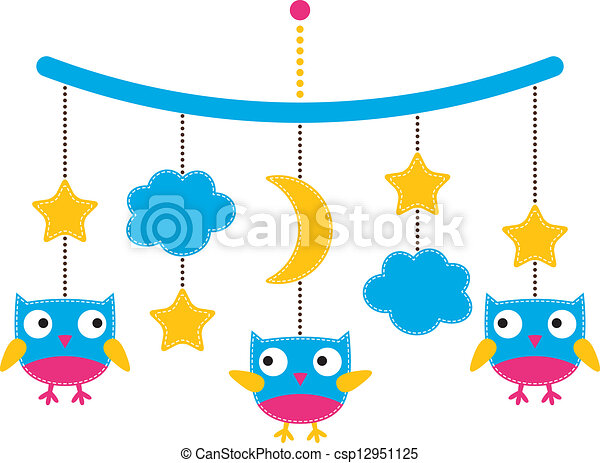 baby arrival or shower card crib mobile with owls vector rh canstockphoto com Baby Crib Clip Art Baby Onsie