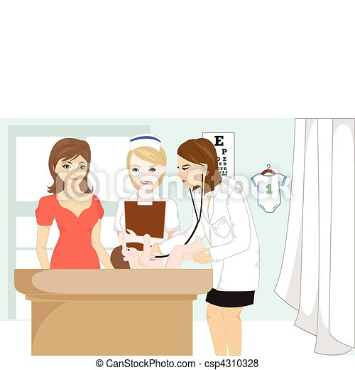 Baby at doctor office - csp4310328