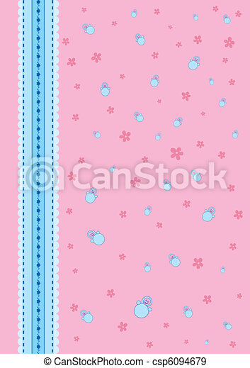 Baby Background Pink With A Blue Ribbon