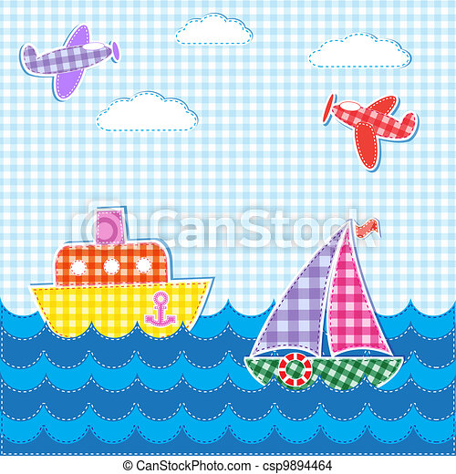 Baby background with aircrafts and ships - csp9894464
