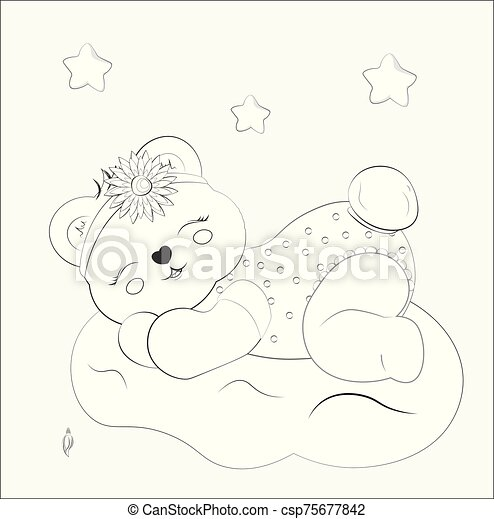 - Baby Bear Sleeps On Cloud Coloring Book. Coloring Book Sleeping Girl Baby Teddy  Bear On Cloud With Flower. Picture In Hand