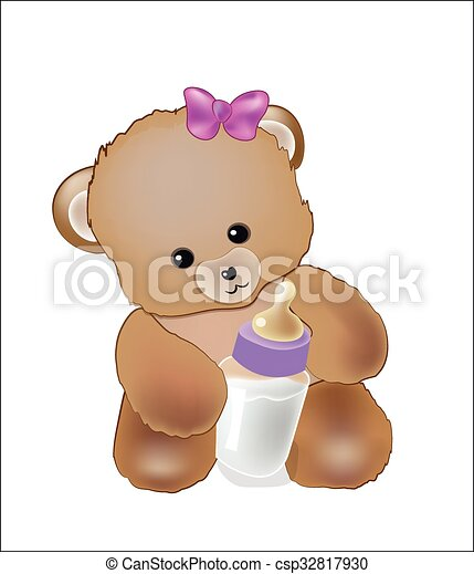 baby bear with a milk small bottle - csp32817930