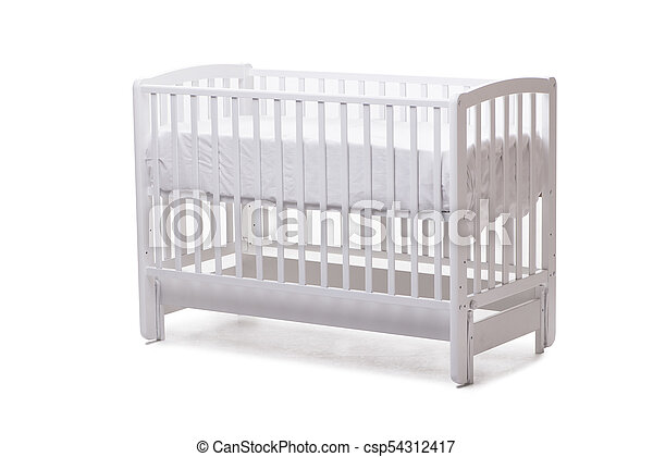 Baby bed cot isolated on the white background - csp54312417