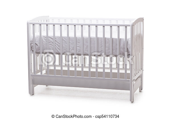 Baby bed cot isolated on the white background - csp54110734