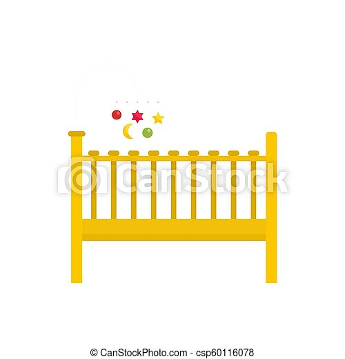 Baby bed icon, flat style - csp60116078