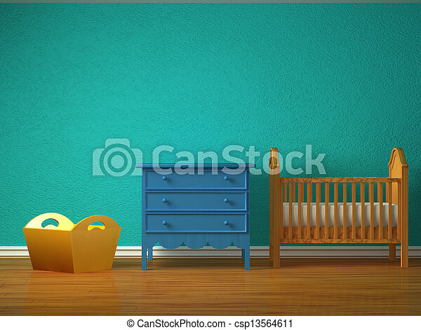 Baby bedroom with a crib.  - csp13564611