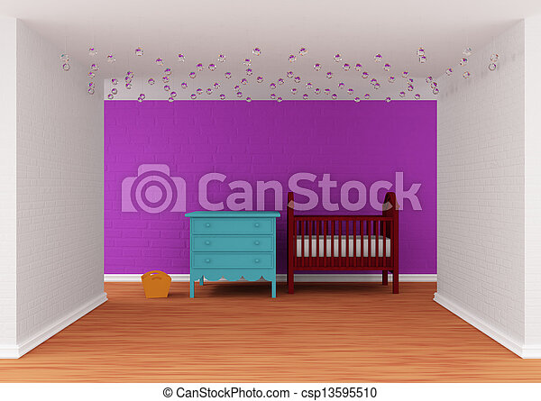 Baby bedroom with a crib - csp13595510