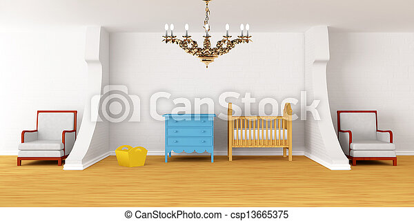 Baby bedroom with a crib. - csp13665375