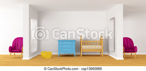 Baby bedroom with a crib. - csp13665889