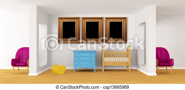 Baby bedroom with a crib. - csp13665989