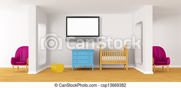 Baby bedroom with a crib. - csp13669382