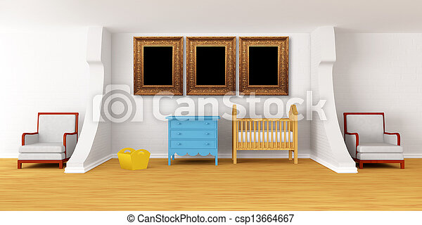 Baby bedroom with a crib. - csp13664667