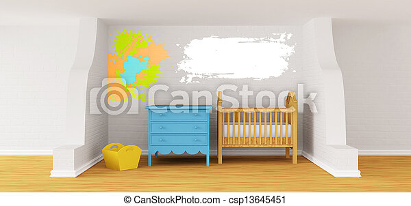 Baby bedroom with a crib.  - csp13645451