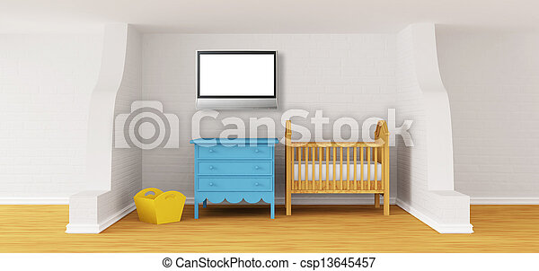 Baby bedroom with a crib.  - csp13645457